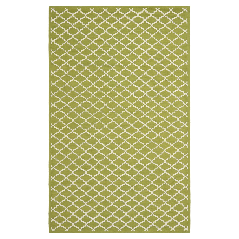 Olive/Ivory Abstract Hooked Area Rug - (8'6