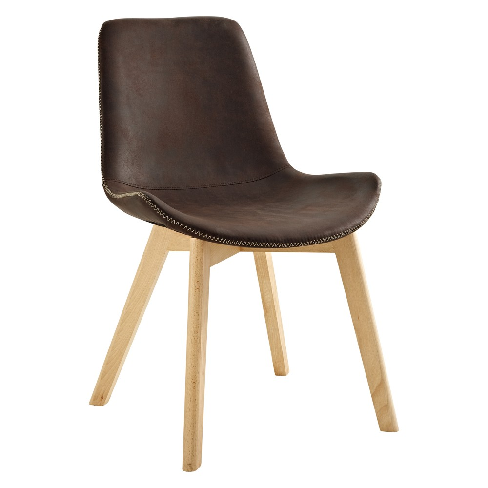 Suede Side Chair with Edge Stitching, Set of 2 Brown - Saracina Home