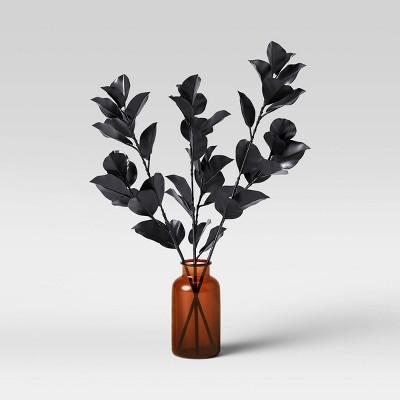 "24"" x 19"" Artificial Blackened Eucalyptus Plant Arrangement in Glass Pot - Threshold™"