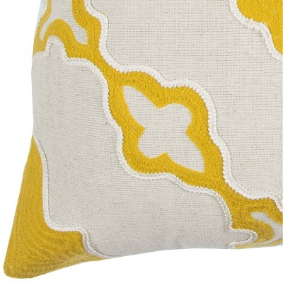 """20""""x20"""" Boho Abstract Throw Pillow Yellow - Rizzy Home : Target"""
