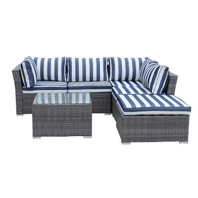Jicaro 5pc Wicker Sectional Sofa Set - Gray with Light Blue Cushions - Thy Hom