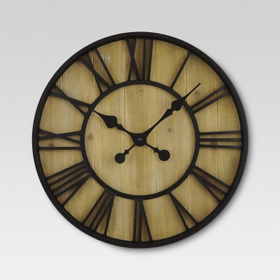 Roman 23  Wall Clock Black Bronze/Pine Finish - Threshold™