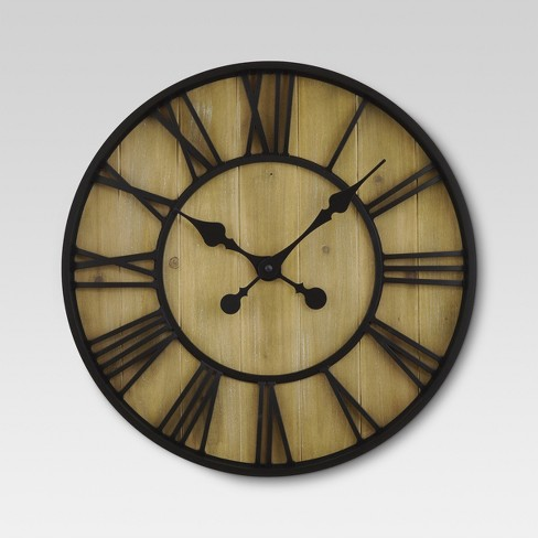 "Roman 23"" Wall Clock Black Bronze/Pine Finish - Threshold™ - image 1 of 2"