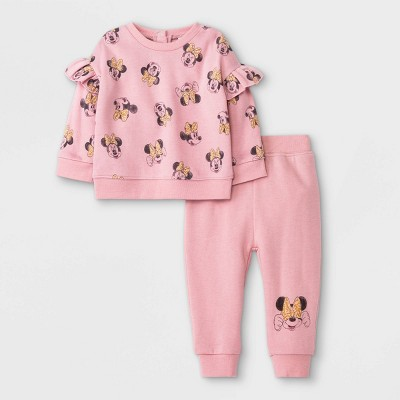 Baby Girls' 2pc Minnie Mouse Long Sleeve Fleece Pullover and Jogger Set - Pink 12M