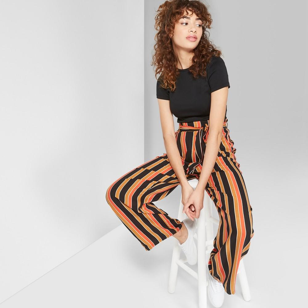 Women's Striped High-Waist Paper Bag Pants - Wild Fable Black/Brown L