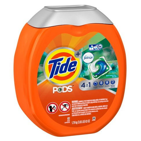 Tide PODS Plus Febreze Botanical Rain Liquid Laundry Detergent Pods - 61ct - image 1 of 2