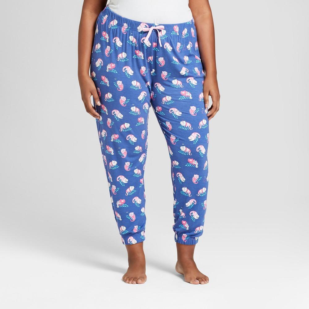 Nite Nite Munki Munki Women's Plus Size Sleep Jogger Pajama Pants - Navy 1X, Blue