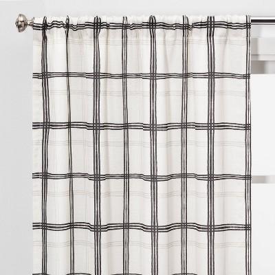2pc 40 x84  Light Filtering Plaid Window Curtain Panels Black/White - Threshold™