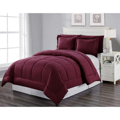 3 Piece Bed In A Bag Bliss Hotel Collection Down Alternative Embossed Comforter Set