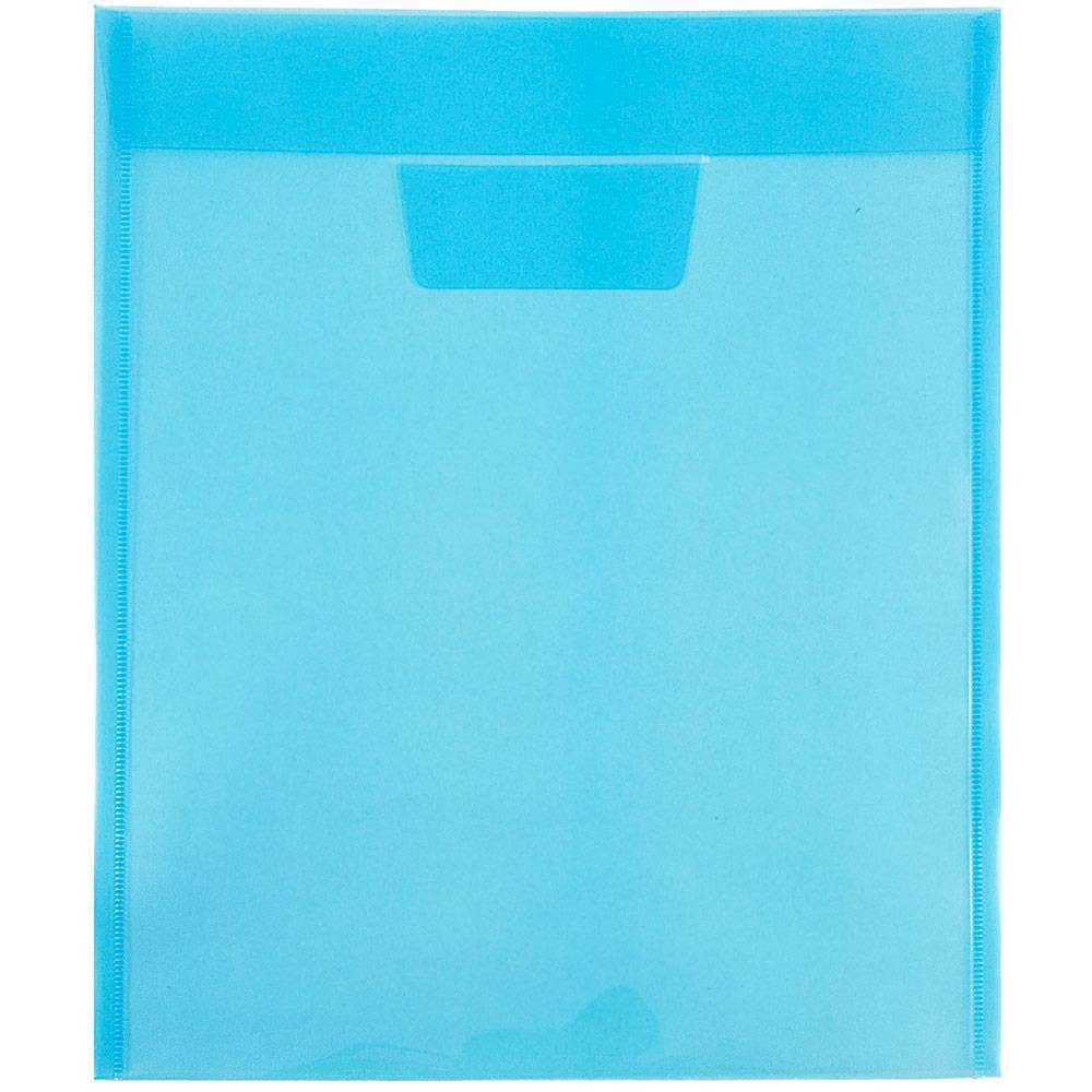 Jam Paper 9 7/8'' x 11 3/4'' 12pk Plastic Envelopes with Tuck Flap Closure, Letter Open End - Blue