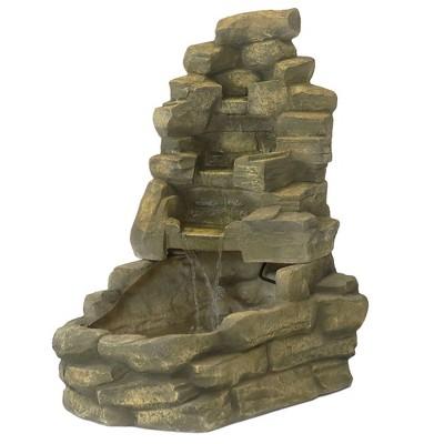 """37"""" Stone Outdoor Water Fountain - Sunnydaze Decor"""