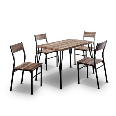 "5pc 43"" Cove Park Dining Table Set Espresso - HOMES: Inside + Out"
