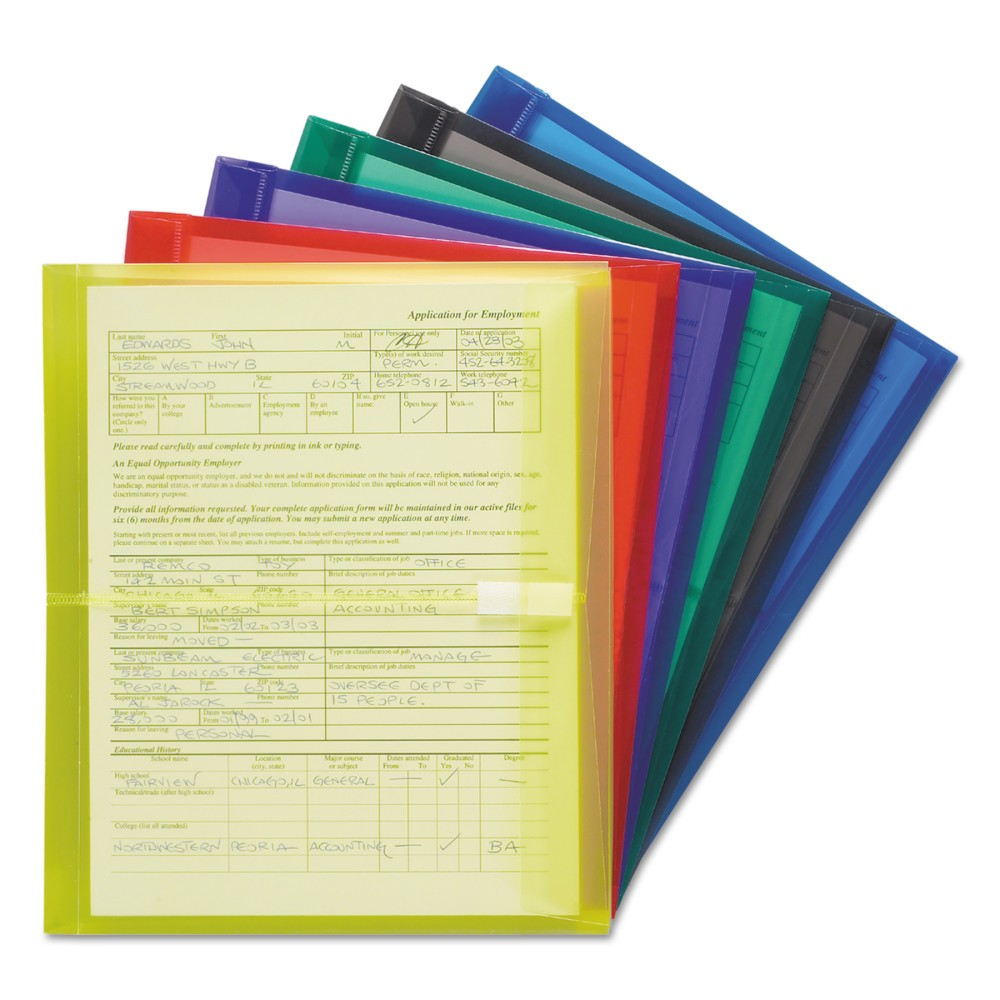 Image of SMead Poly Envelopes, 1 1/4 Inch Expansion, Letter, Six Colors, 6/Pack