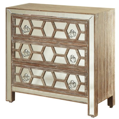 3 Drawer Mirrored Front Chest Hazelnut Wood - StyleCraft