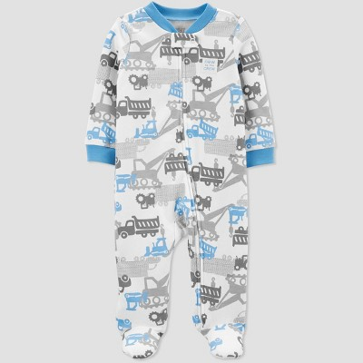 Baby Boys' Construction Sleep 'N Play One Piece Pajama - Just One You® made by carter's Blue/White 9M