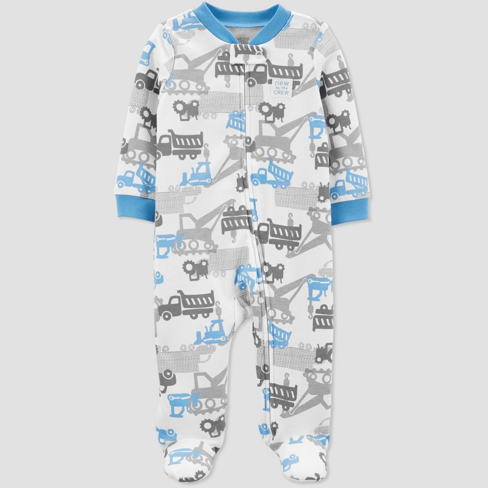 Baby Boys' Construction Sleep 'N Play One Piece Pajama - Just One You made by carter's Blue/White 3M