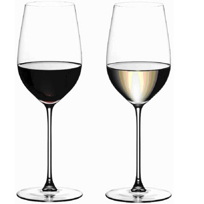 Riedel 13.75 Fluid Ounce Veritas Riesling Zinfandel Crystal Wine Drinking Glass Set with Microfiber Polishing Cloth, Set of 2