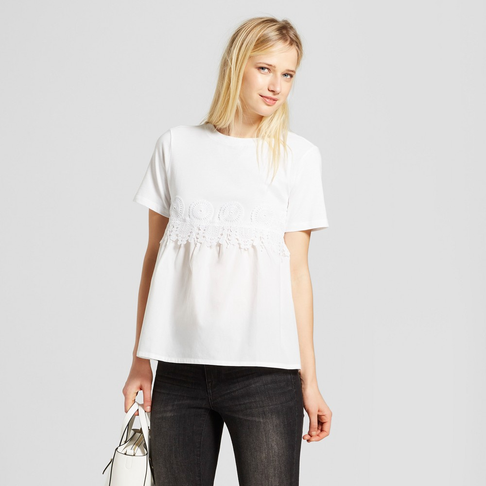 Women's Short Sleeve Knit to Woven T-Shirt - Who What Wear White XS