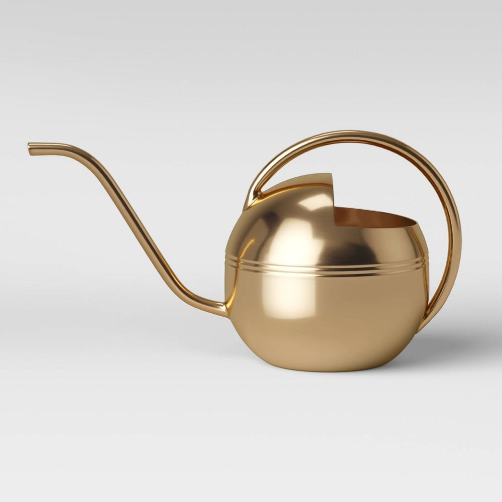 """Image of """"12.6"""""""" x 6.5"""""""" Stainless Steel Watering Can Gold - Threshold"""""""