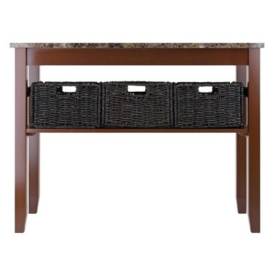 Zoey Console Table Faux Marble Top With Baskets   Walnut, Chocolate    Winsome : Target