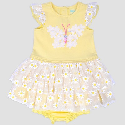 Baby Girls' Butterfly Glitter Popover Dress Nate & Annee™ Yellow 3-6M