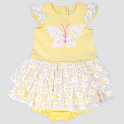 Baby Girls' Butterfly Glitter Popover Dress Nate & Annee™ Yellow 6-9M