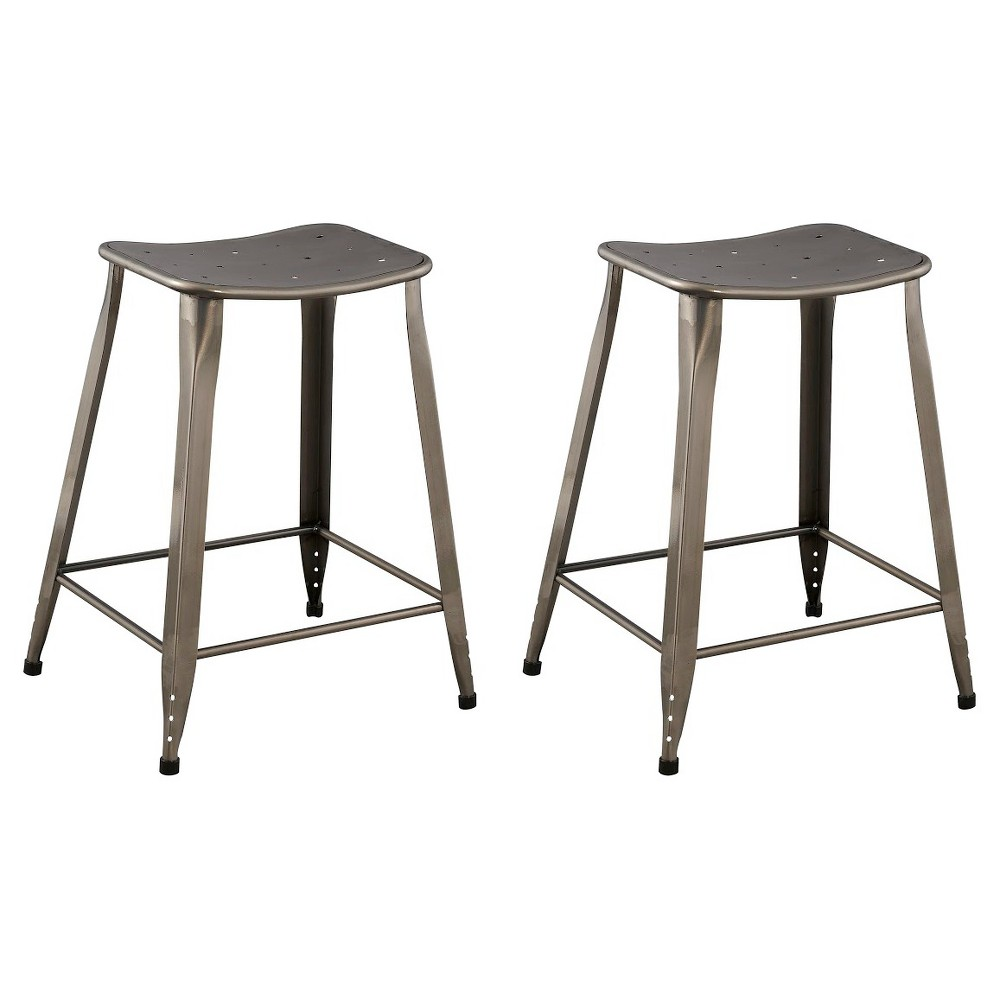 "Image of ""Lennon 24"""" Saddle Backless Counter Stool (Set of 2) - Reservation Seating by Ace Bayou, Silver"""