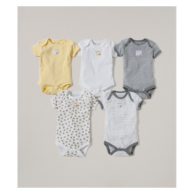 Burt's Bees Baby® Organic Cotton 5pk Short Sleeve Bodysuit Set - Sunshine 6-9M