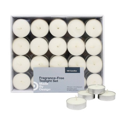 .31  100pk Unscented Tealight Candle Set Cream - Made By Design™