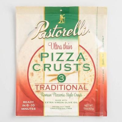 """Pastorelli 12"""" Thin White Pizza Crust - 3pk"""