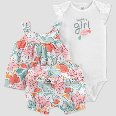 Baby Girls' Floral Tropical Top & Bottom Set - Just One You® made by carter's Pink/Green 6M