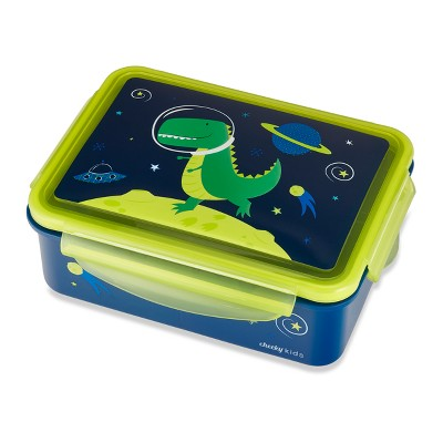 Cheeky Plastic Kids Bento Box 7.2  x 5.3  Space Dinosaur - Blue/Green