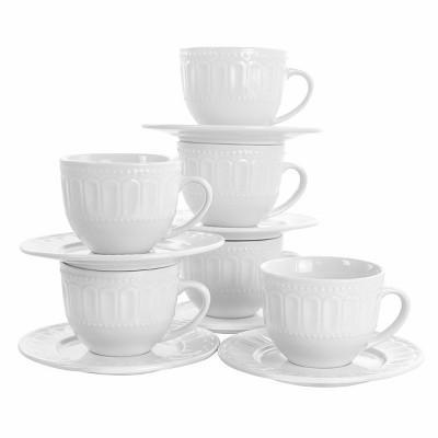 10oz 6pk Porcelain Charlotte Mug Set White - Elama