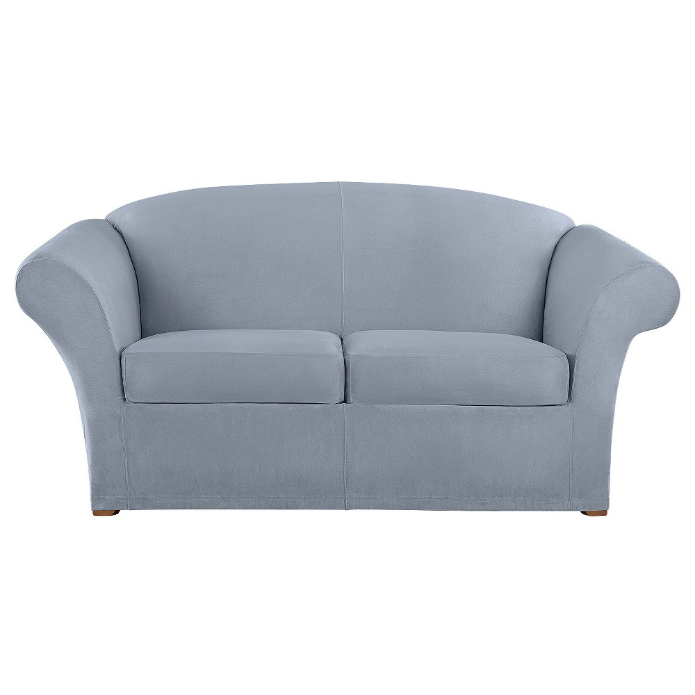 Ultimate Stretch Suede 3pc Loveseat Slipcover Pacific Blue - Sure Fit