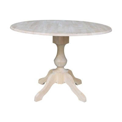 Blake Round Drop Leaf Table Unfinished - International Concepts