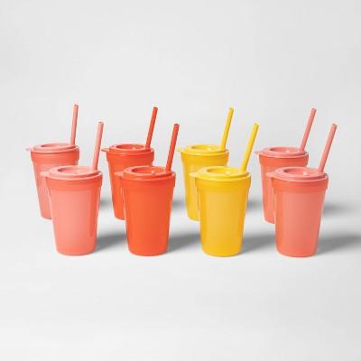 24pc Plastic Tumbler Set with Straws Orange/Red - Pillowfort™