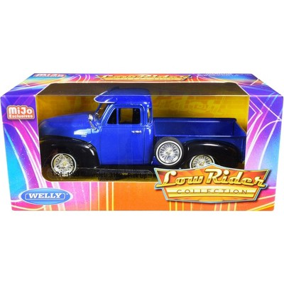 """1953 Chevrolet 3100 Pickup Truck Blue and Black """"Low Rider Collection"""" 1/24 Diecast Model Car by Welly"""
