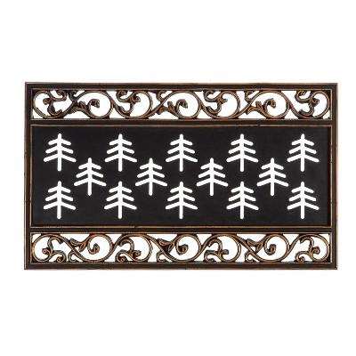 Evergreen Flag Metallic Scroll Coir Switch Mat Tray