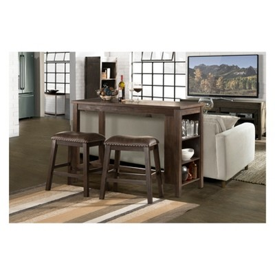 Spencer Three Piece Counter Height Dining Set With Backless Counter Height  Stools Wood Dark Espresso/Brown Faux Leather   Hillsdale Furniture : Target