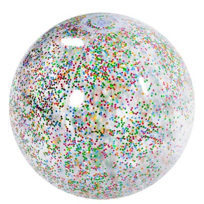 """Pool Central 20"""" Multi Color Glitter Inflatable Beach Ball"""
