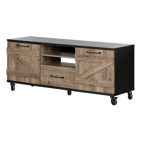 Valet Industrial Tv Stand On Wheels Weathered Oak/Black - South Shore - image 1 of 4