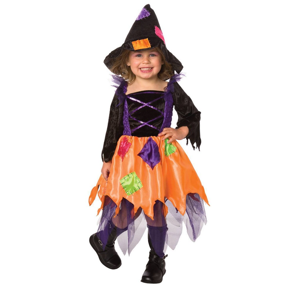 Image of Halloween Girls' Patchwork Witch Toddler Costume 1-2t, Girl's, Size: Small, MultiColored