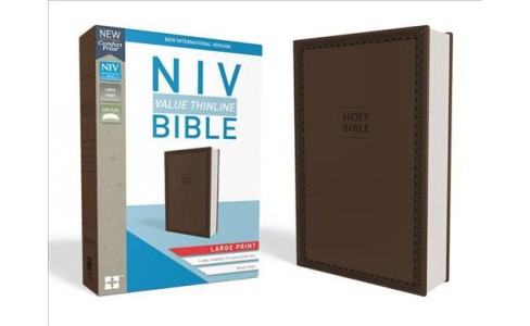 Holy Bible : New International Version, Chocolate, Leathersoft, Value Thinline - Large Print (Paperback) - image 1 of 1