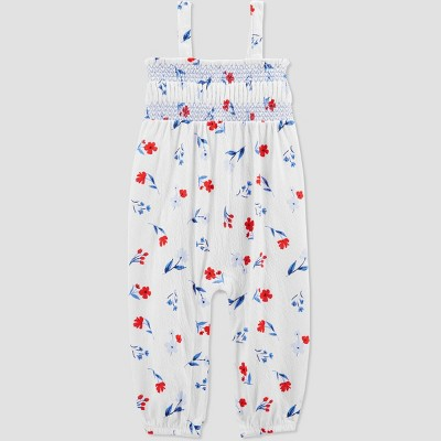 Baby Girls' Floral Jumpsuit - Just One You® made by carter's White Newborn