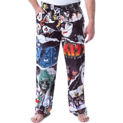 KISS Men's Rock Band Magazine Rip Photo Art Adult Loungewear Pajama Pants