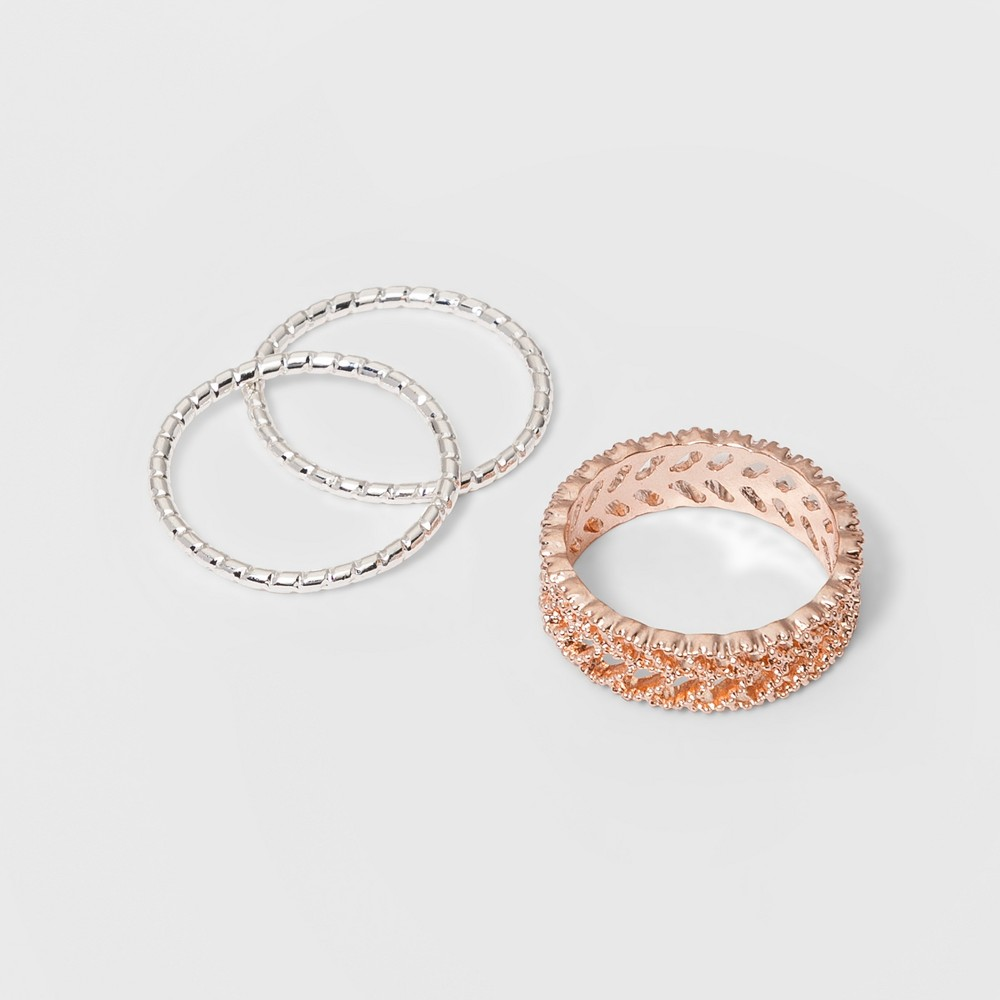 Ring Set 3pc - A New Day Rose Gold/Silver, Multi-Colored