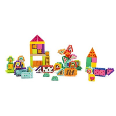 Small Foot Wooden Toys Wood And Knobs Building Blocks Farm Playset - 80pc