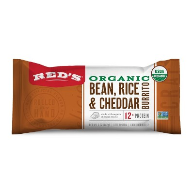 Red's Frozen Organic Bean Rice & Cheese Burrito - 5oz