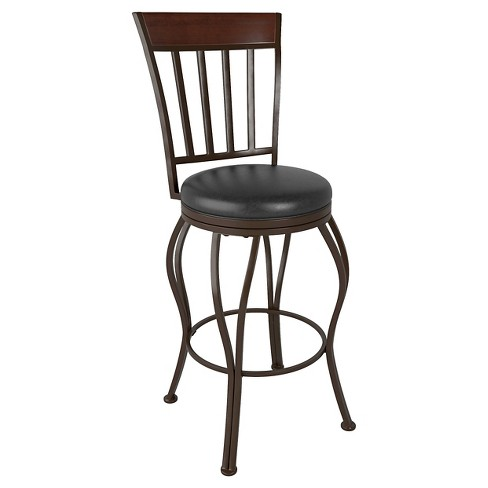 "30"" Bonded Leather Barstool Metal/Brown - CorLiving - image 1 of 3"