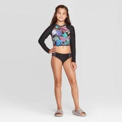 Girls' Neon Jungle Rashguard Bikini 2pc Set - art class™ Black